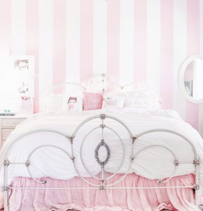 A Pretty & Pink Striped Accent Wall with Hgtv Home by Sherwin Williams
