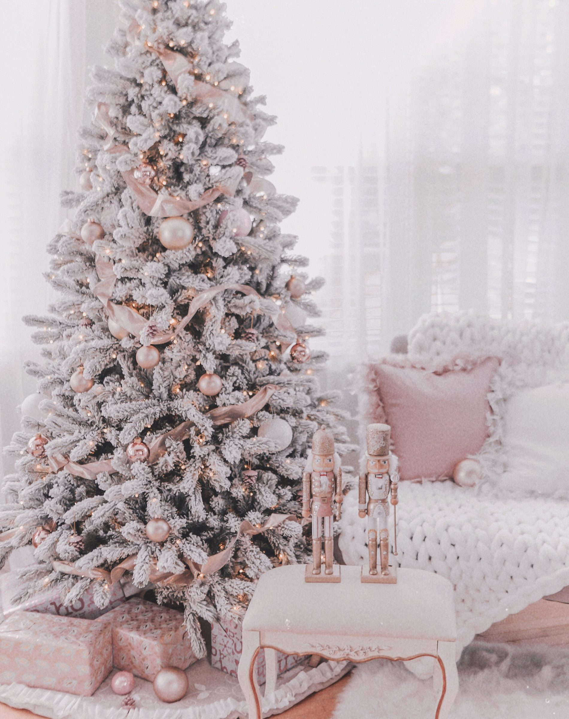 Couture Rose Gold & Blush Christmas Tree Decoration Details Hi Coutures! Here's my holiday shopping details post - as promised! Now I literally just setup the tree a few days ago and we're still making changes and have much more holiday couture decor to add, set up & of course, share with you! But for now here are the details for what I have up so far and for what I've already shared. The Tree Our tree is by King of Christmas and it is the 7.5 foot King flocked pre-lit Christmas tree. It's so fluffy and beautiful and I can promise you that it is worth every cent. I can't even tell you how many comments we've gotten in person already as to how gorgeous it is and it's definitely converting faux-tree haters! We ordered ours in October after hearing that they sell out for good right about now. So loves, if you want it THIS year, you must order now! Rose Gold Ornaments A lot of questions I've received thus far have been where are the ornaments from? Well loves they were super cheap, I'm talking $5 a pack cheap and I think will sell out rather quickly. We went with a mix of rose gold frosted, rose gold glitter and than jumbo rose gold and gold ornaments which I've linked all in this post. You can buy online & have them shipped or pick them up in the store. I've also added these darling little Eiffel Tower glitter ornaments to the tree and my goodness are they lovely! Ribbon My desire for the tree this year was to have a rose gold & blush look as much as possible and to achieve that we looked to ribbon. I've linked some of the different ribbons that we added to the tree In this post. However, I didn't see one style that we used a lot of on the Michaels.com website. It's rose gold and very shimmery. The Nutcrackers These babies are from Michaels as well and wow did they sell out FAST! I just saw them in stock online, a few days ago but now they're gone. I also picked up the last 2 from my local store last weekend. There is a chance they will be restocked and available at your local store so make sure you check. I honestly barely set up the tree when I shared my post and I was so surprised at the response so far! Thank you all for your love and support and I absolutely can't wait to share more of our progress with you! Here's to enjoying some yummy Starbucks coffee while you decorate with some lovely smelling candles lit as well. Happy Couture Holidays in November!